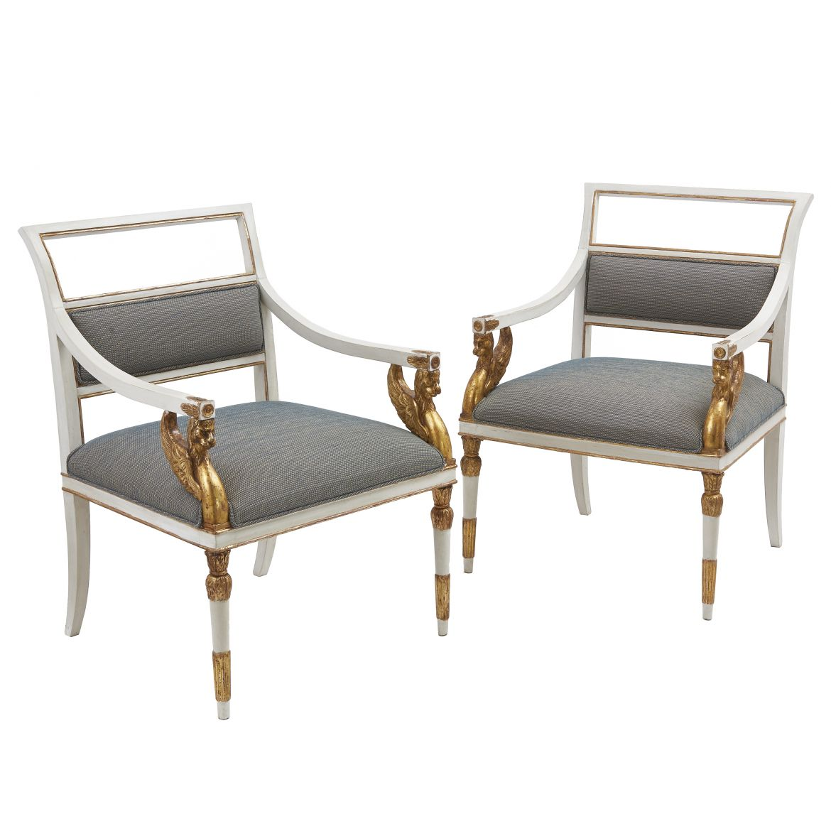 Italian Neoclassical Parcel Gilt Chairs