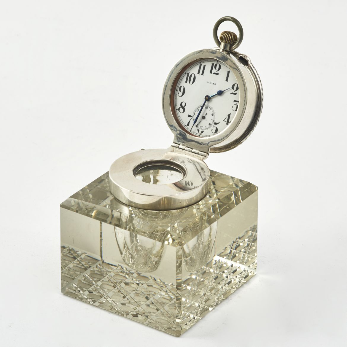 Silver Mounted Clock Inkwell