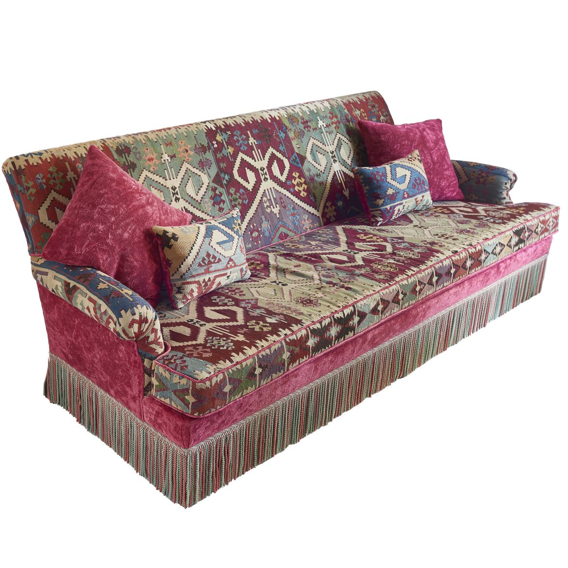 Sofa with Antique Kilim Upholstery
