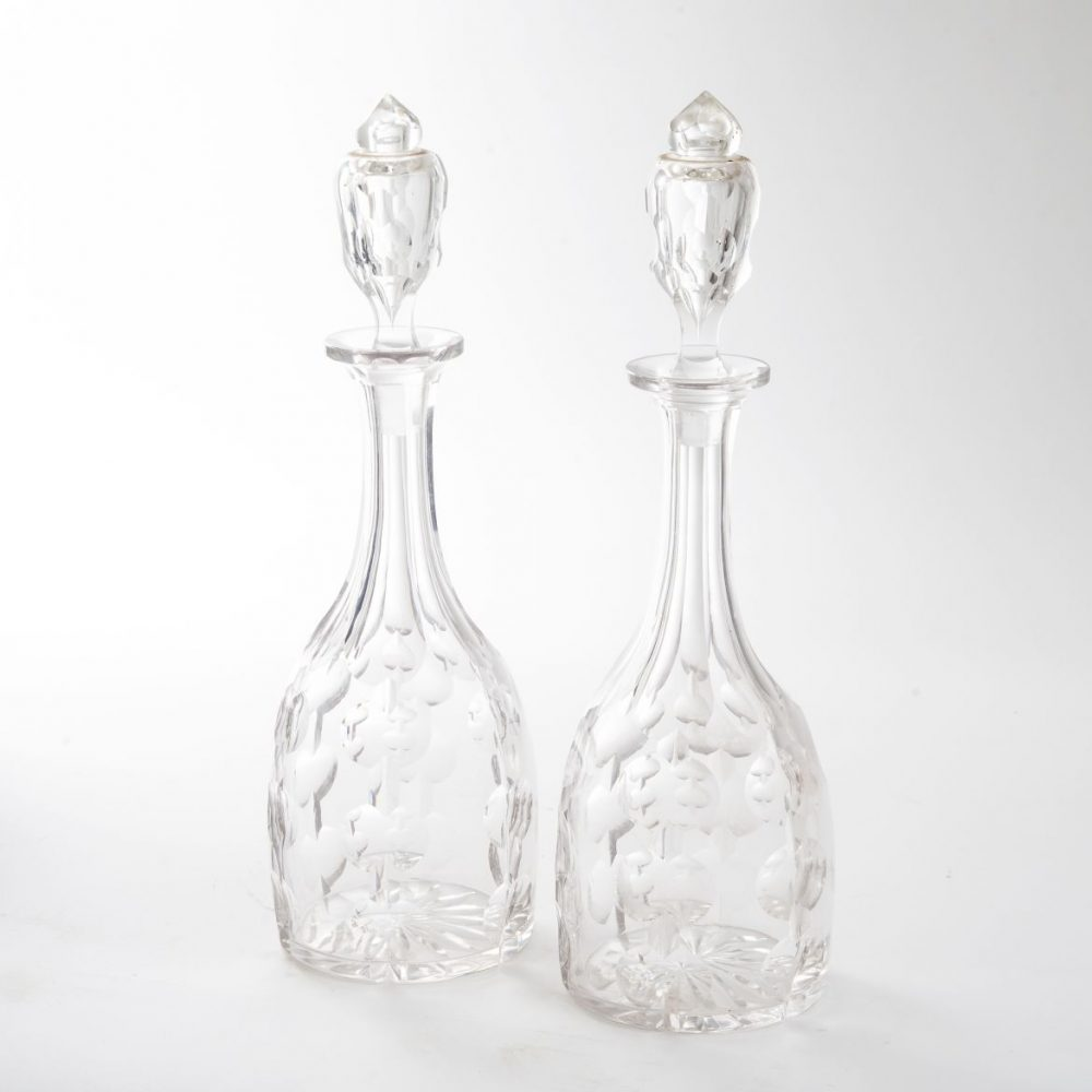 Victorian Mallet Shaped Decanters