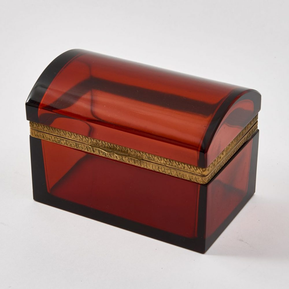 French Cinnamon Red Glass Box