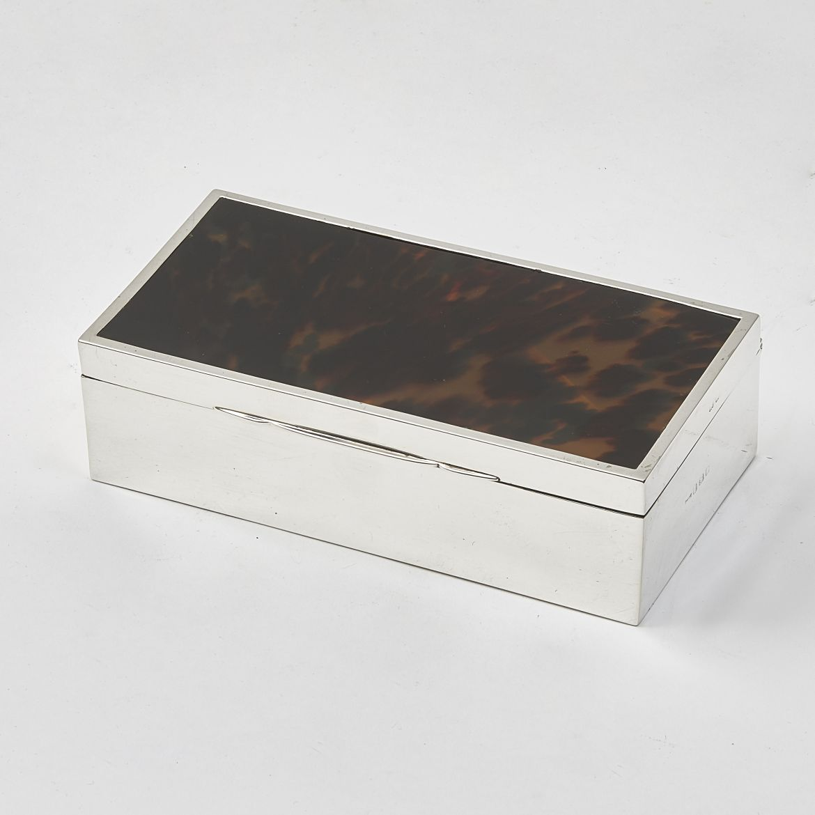 Silver And Tortoiseshell Cigarette Box