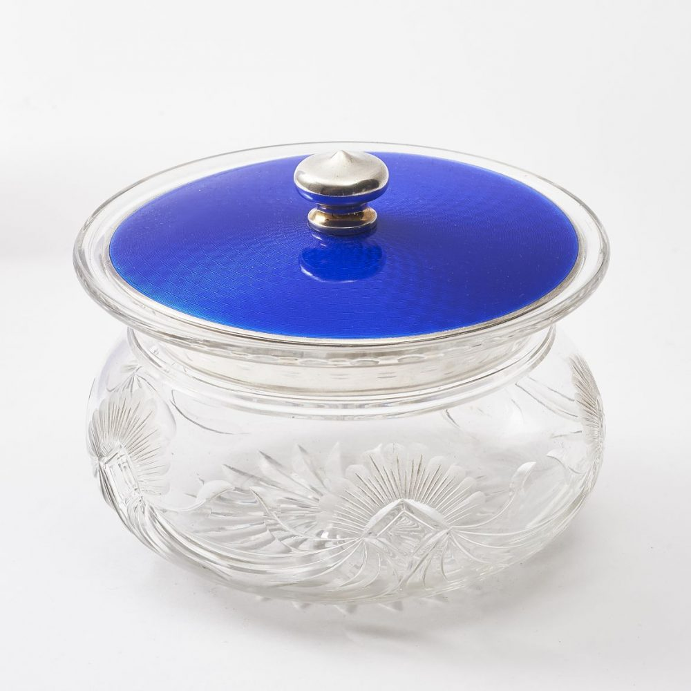 Cut Crystal Enamel Lid Powder Pot