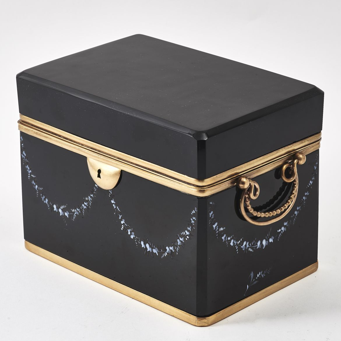 Large Bohemian Black Glass Box