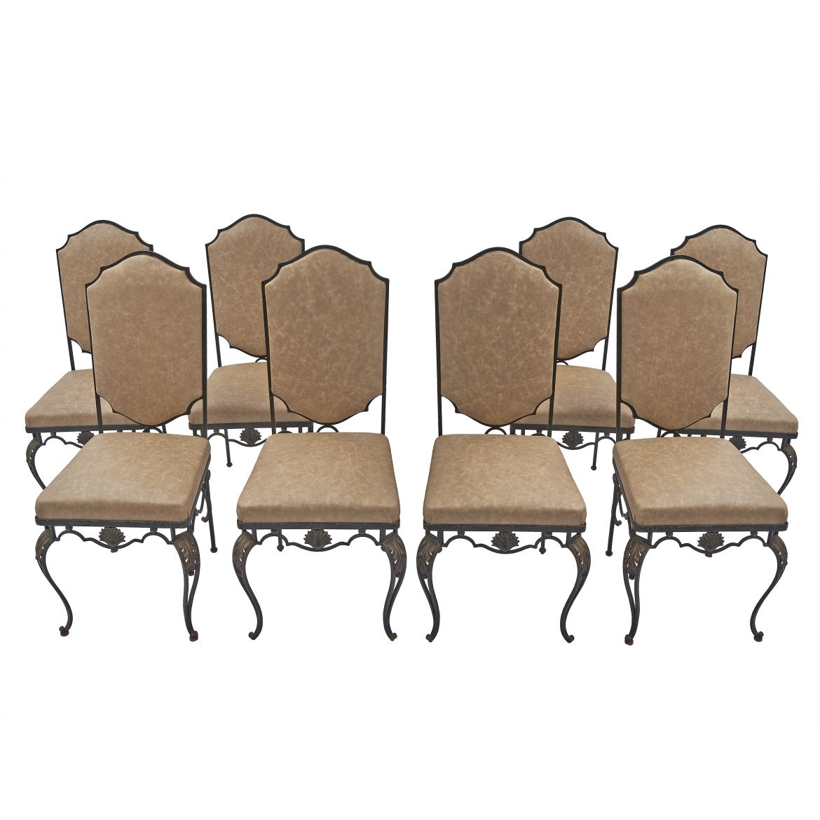 Set Eight Wrought Iron Chairs