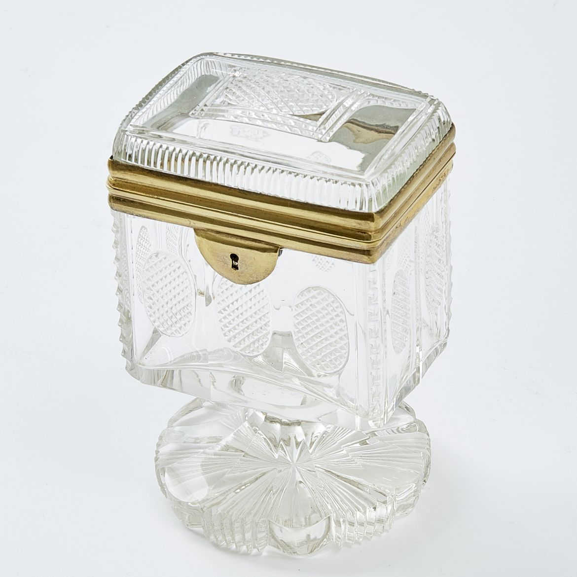 Unusual Bohemian Cut Glass Box