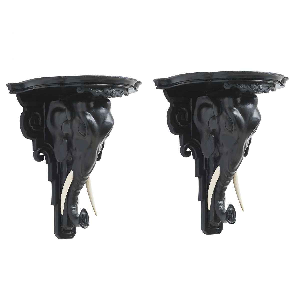Ebonised Elephant Head Wall Brackets