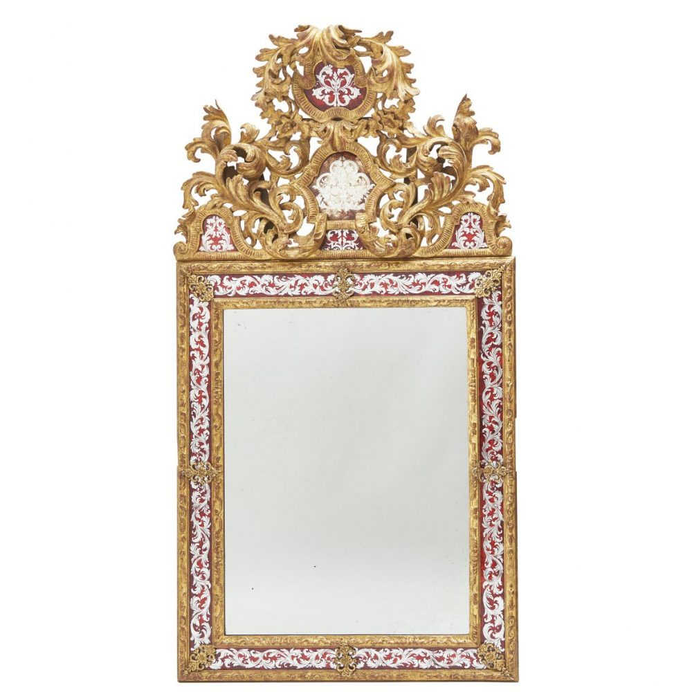 French Louis XIV Style Verre Eglomisé Mirror