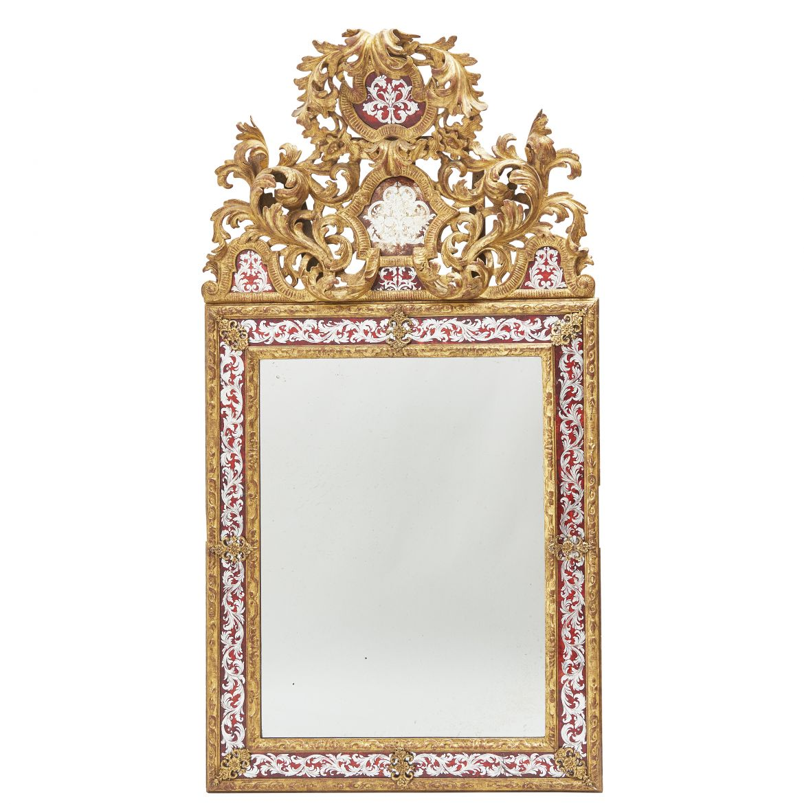Louis XIV Style Verre Eglomisé Cushion Mirror