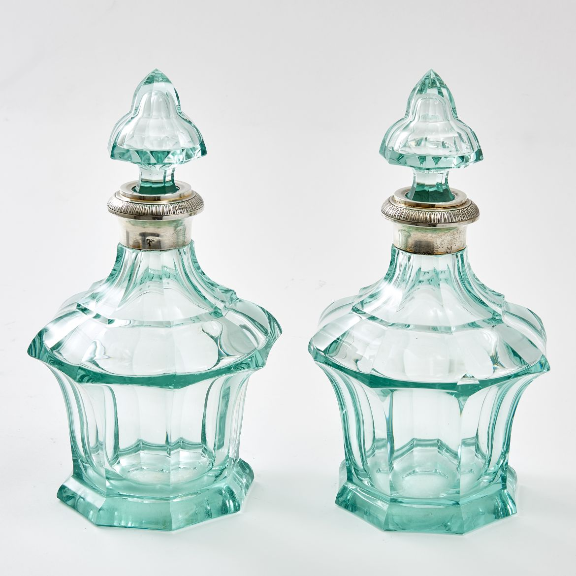 Pair Green Glass Decanters