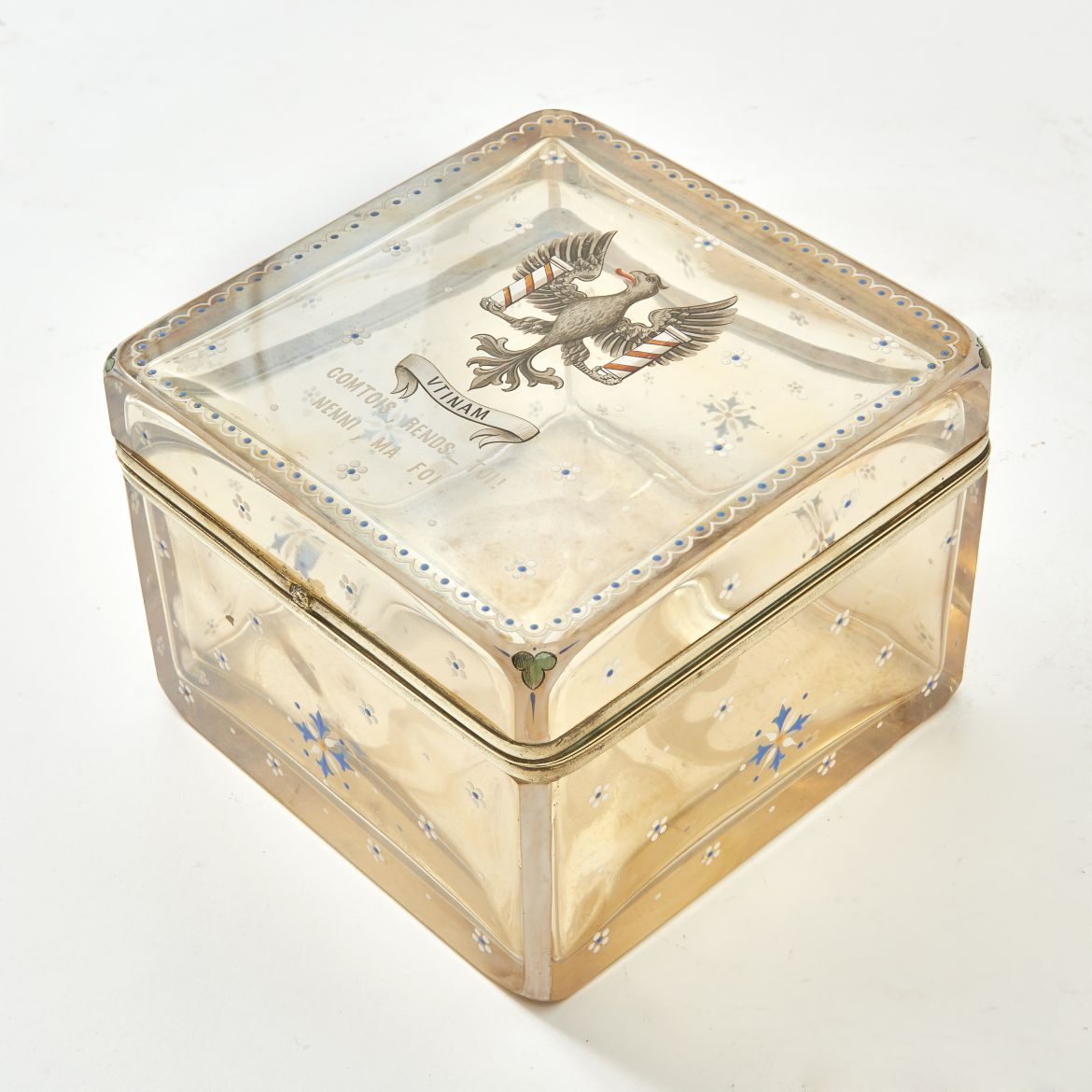 French Glass Box With Eagle Crest