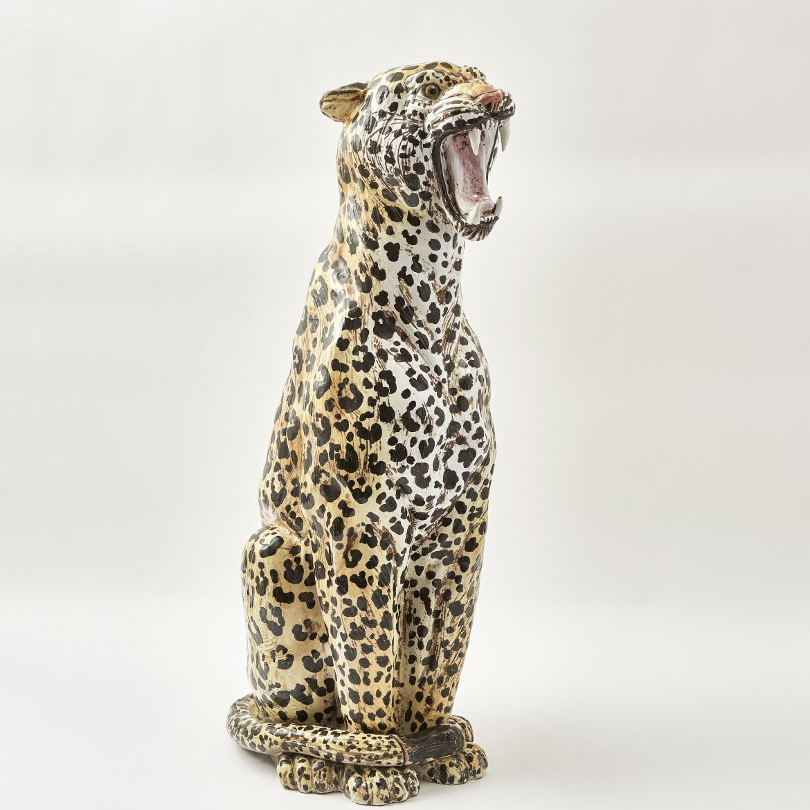 Italian Painted Ceramic Leopard
