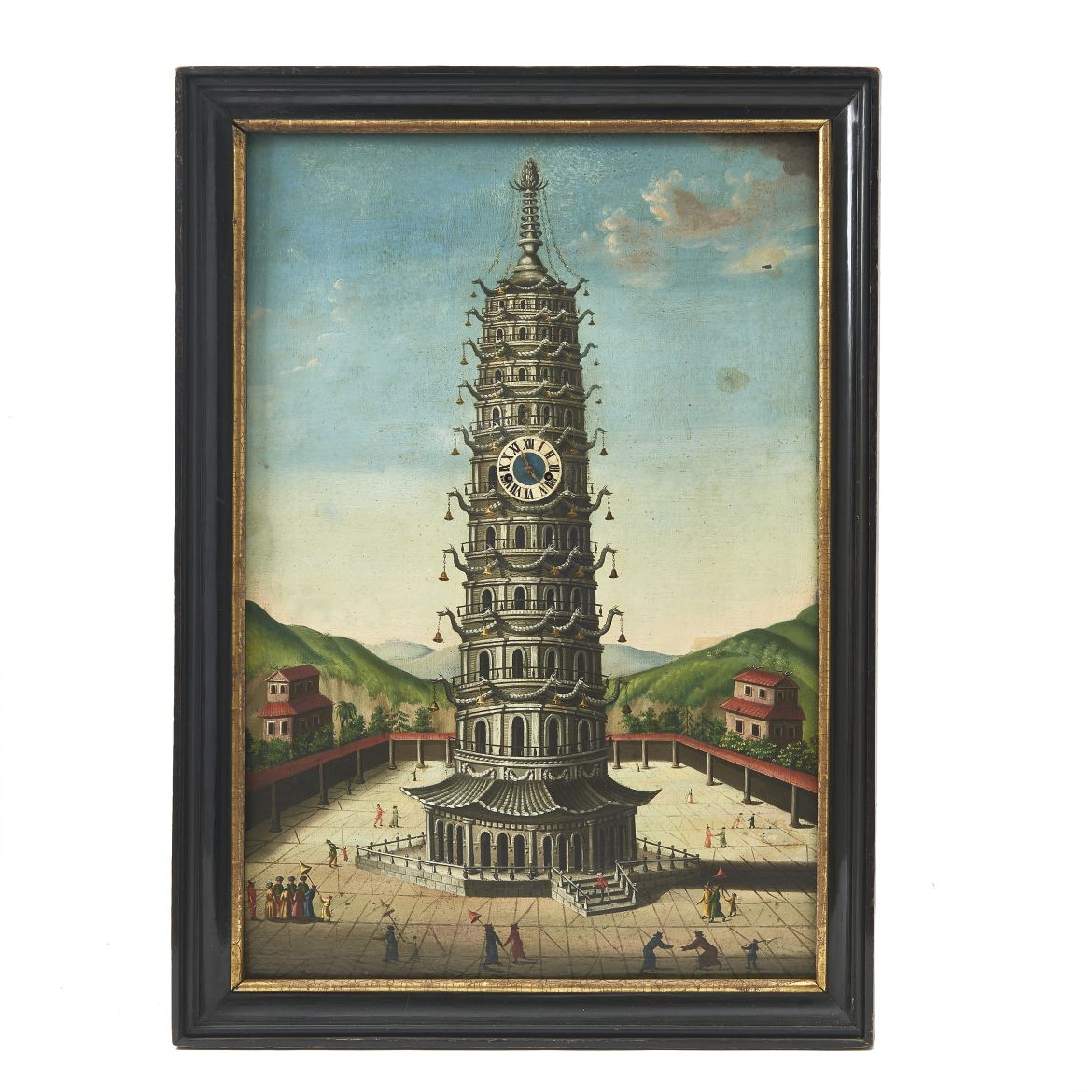 Oil Painting of Pagoda with Working Clock