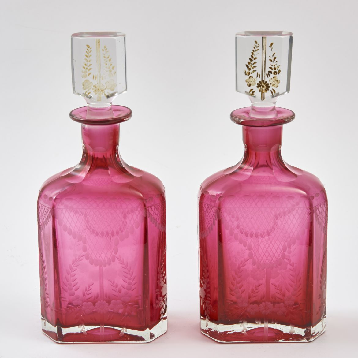 Bohemian Cranberry Glass Decanters