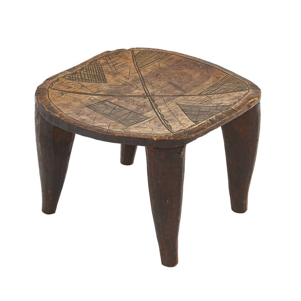 African Carved Wood Nupe Stool