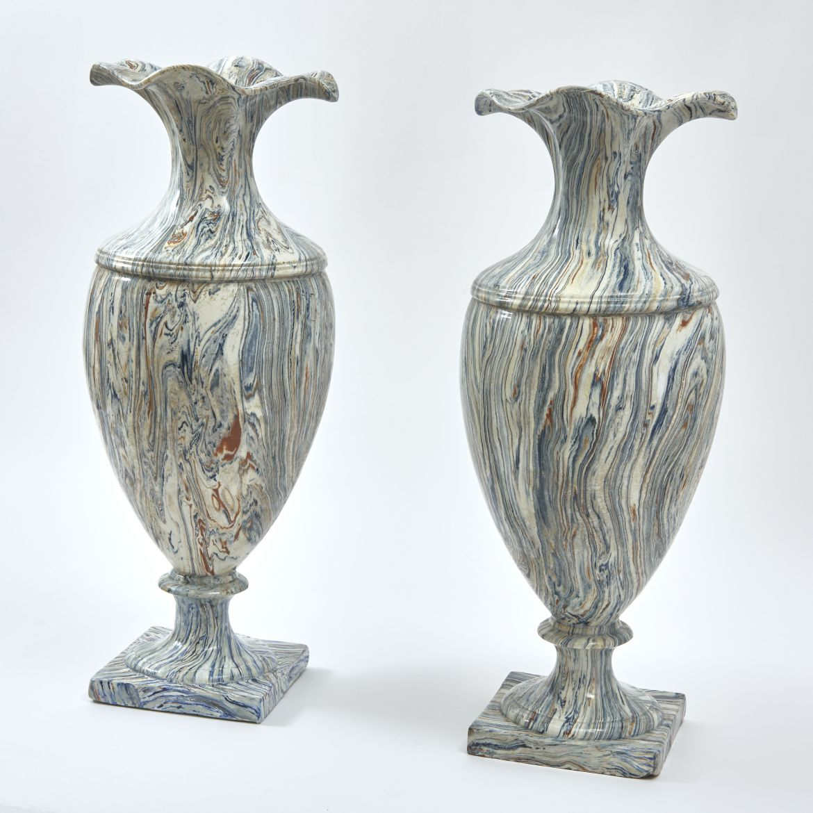 French Sarreguemines Agateware Vases