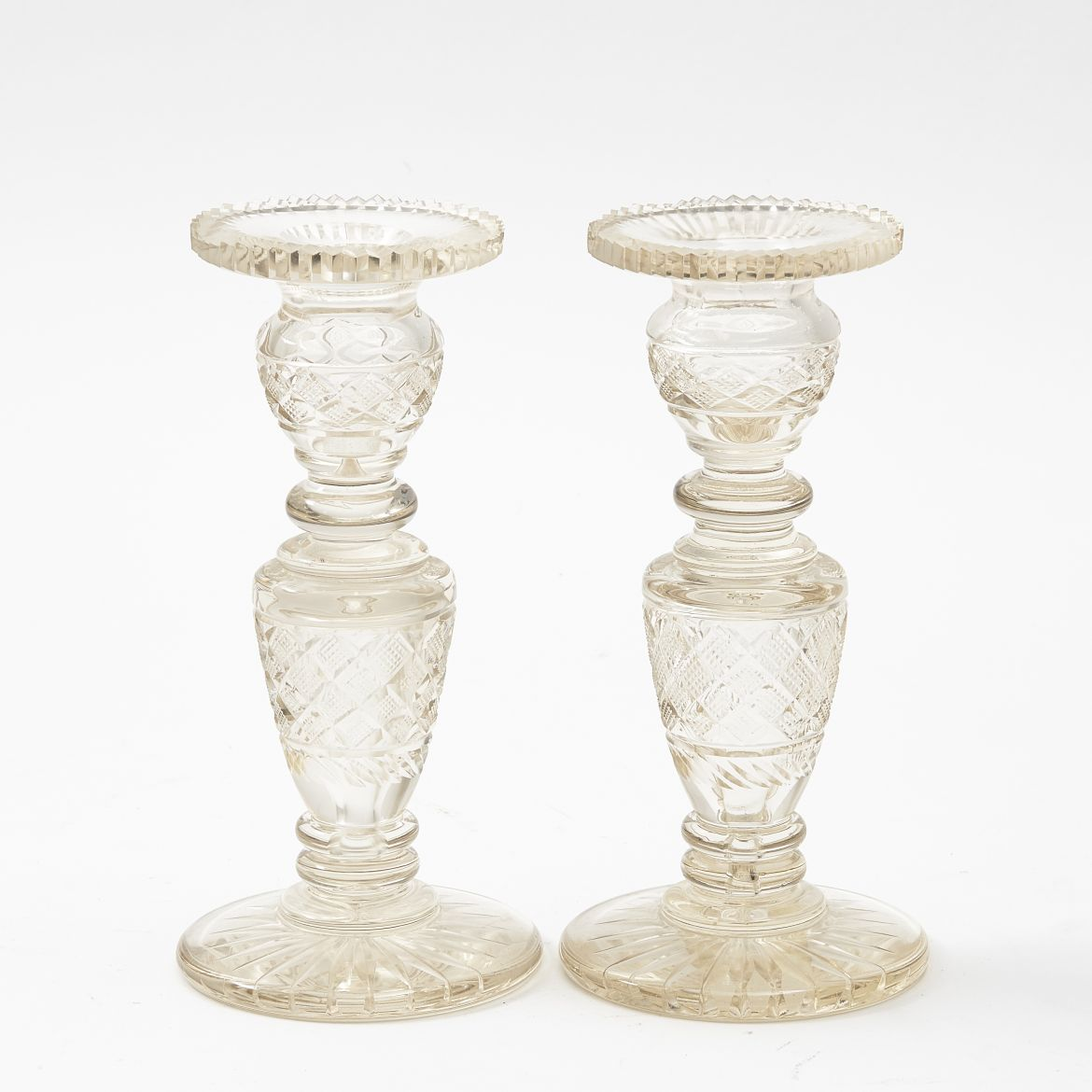 Pair Victorian Cut Crystal Candlesticks