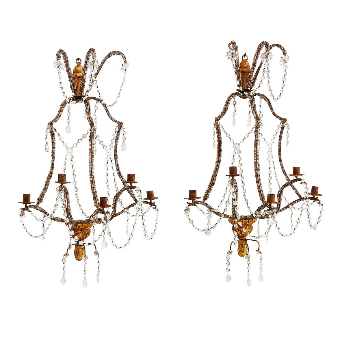 Italian Giltwood And Beaded Sconces