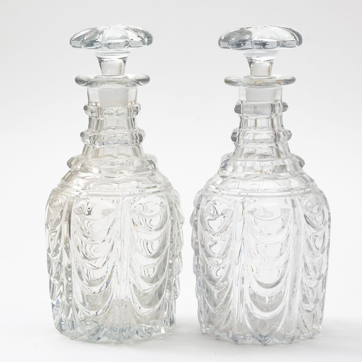 Pair Victorian Cut Crystal Decanters