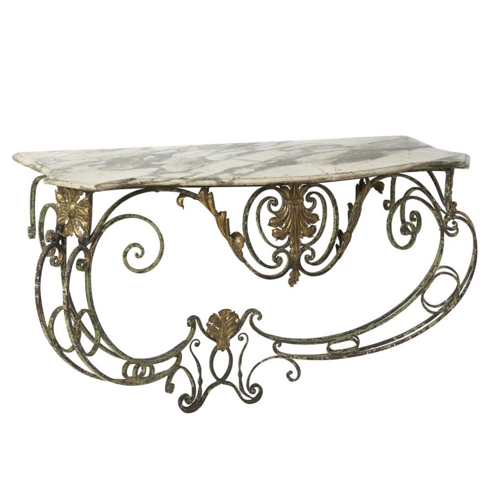 French Painted Wrought Iron Console