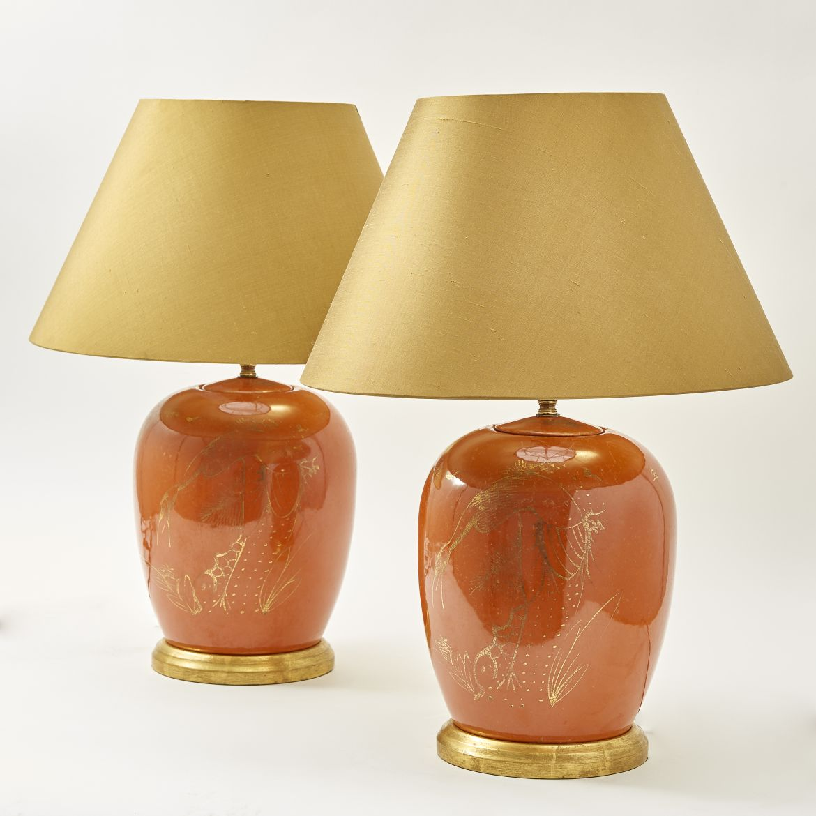 Pair Chinese Melon Jars As Lamps