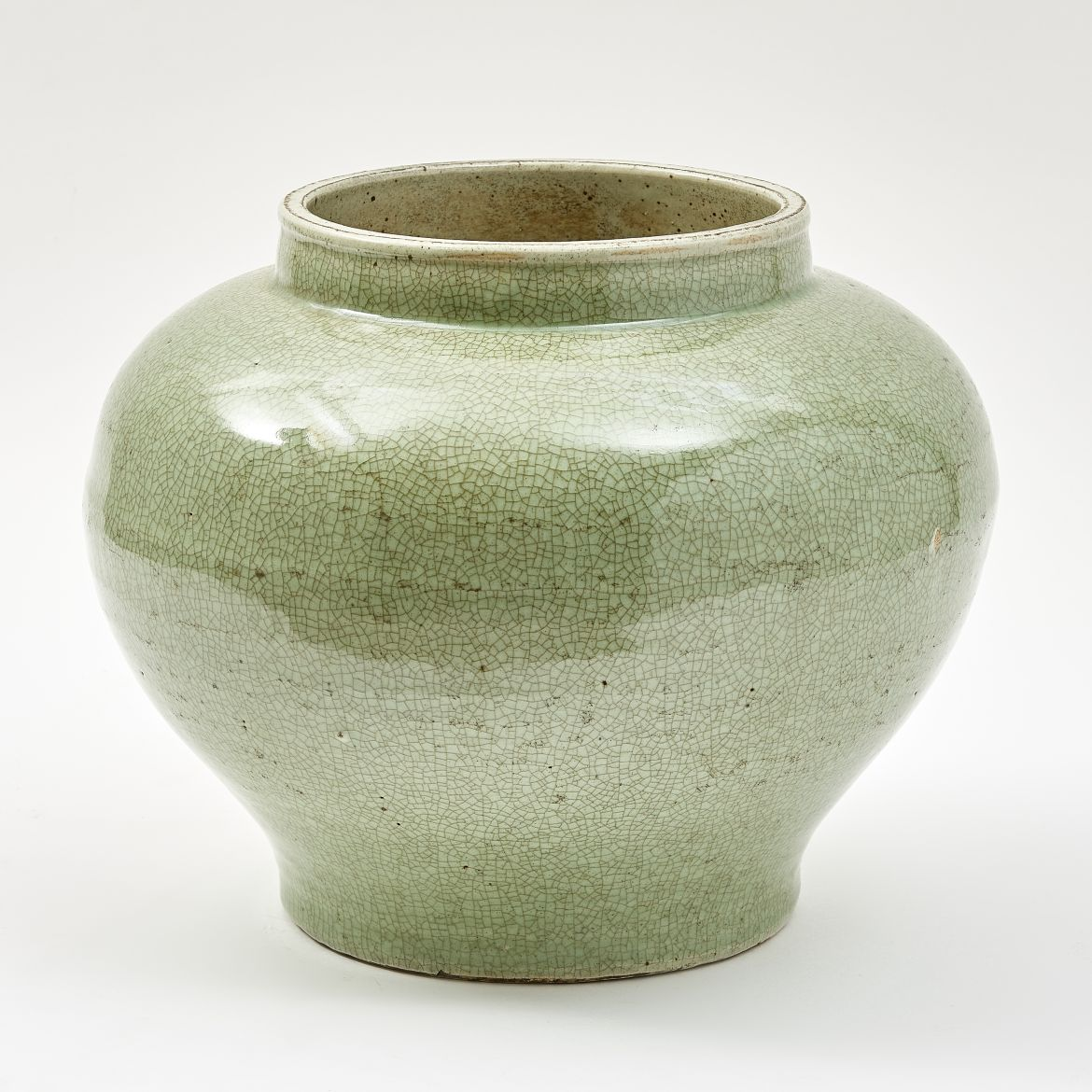Celadon Glaze Squat Baluster Jar