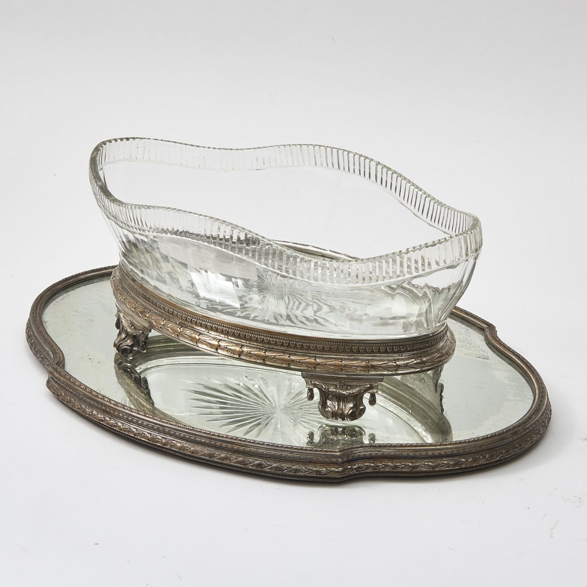 French Crystal Bowl And Mirrored Place Surtout