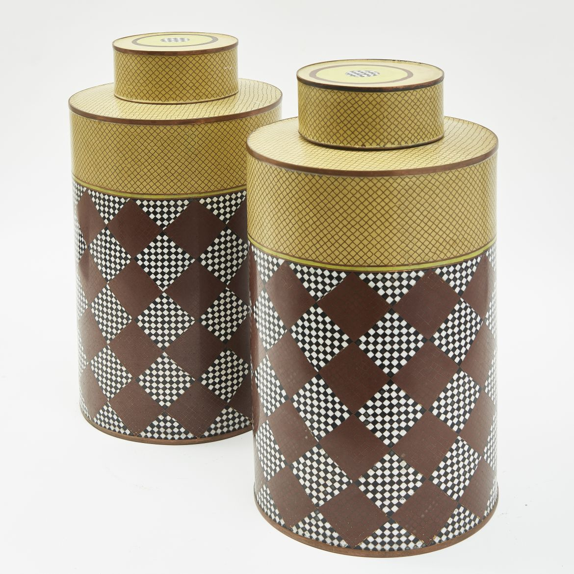 Large French Cloisonné Enamel Tea Canisters