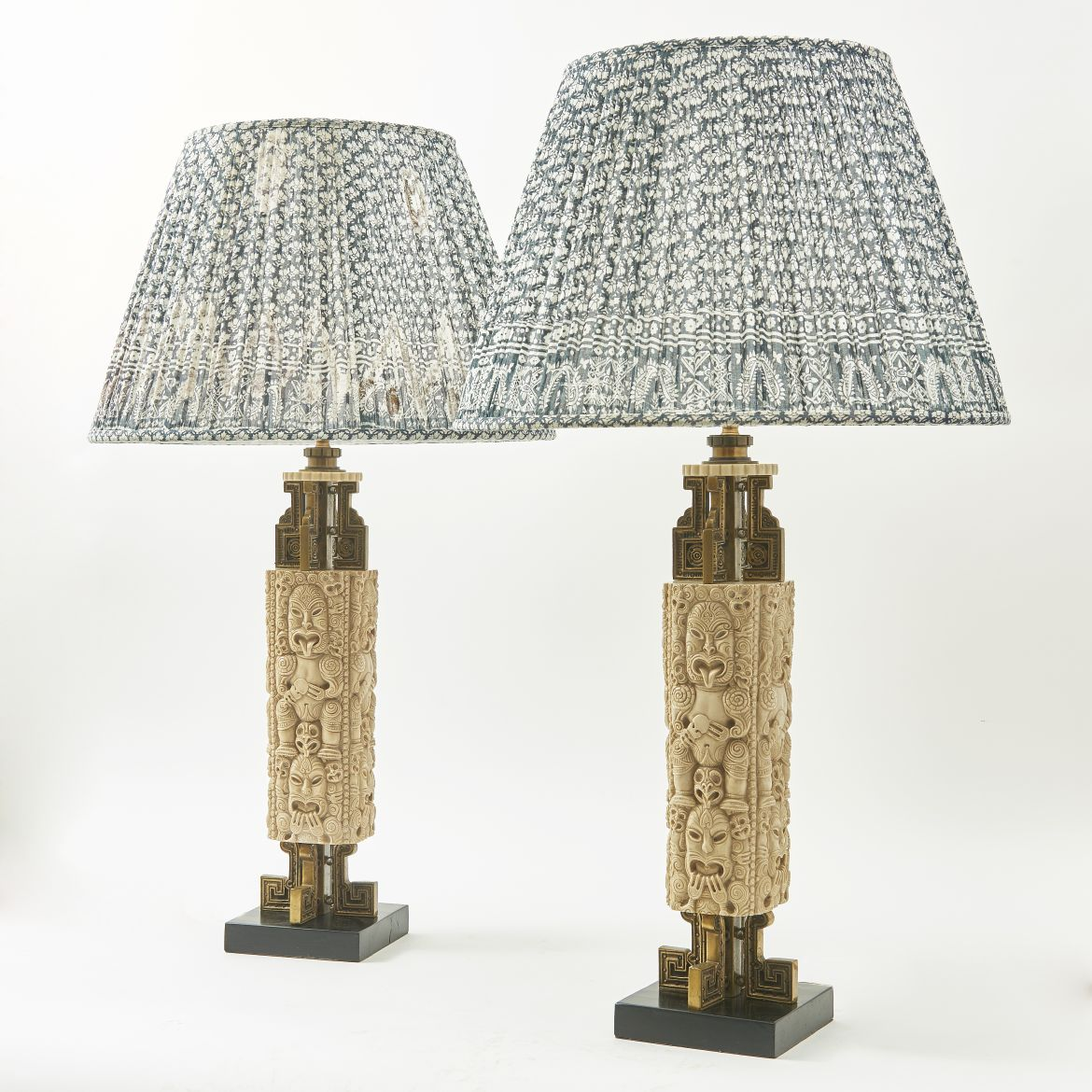 Carved Resin Totem Style Lamps