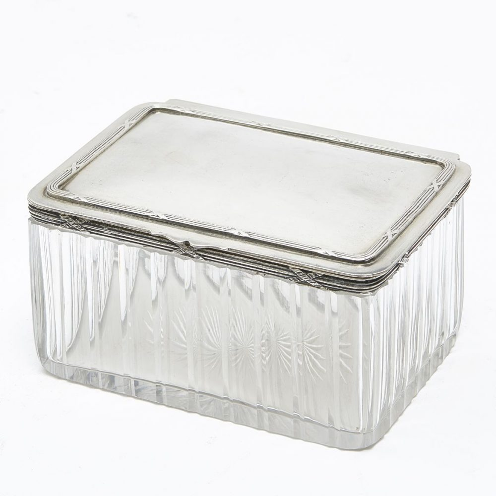 French Cut Crystal And Silver Box