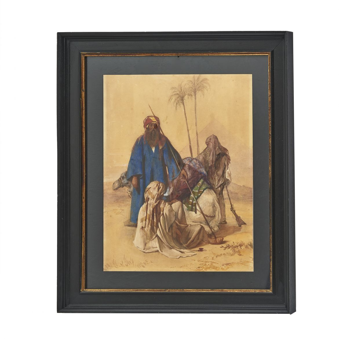 Orientalist Watercolour Of Men With Camel