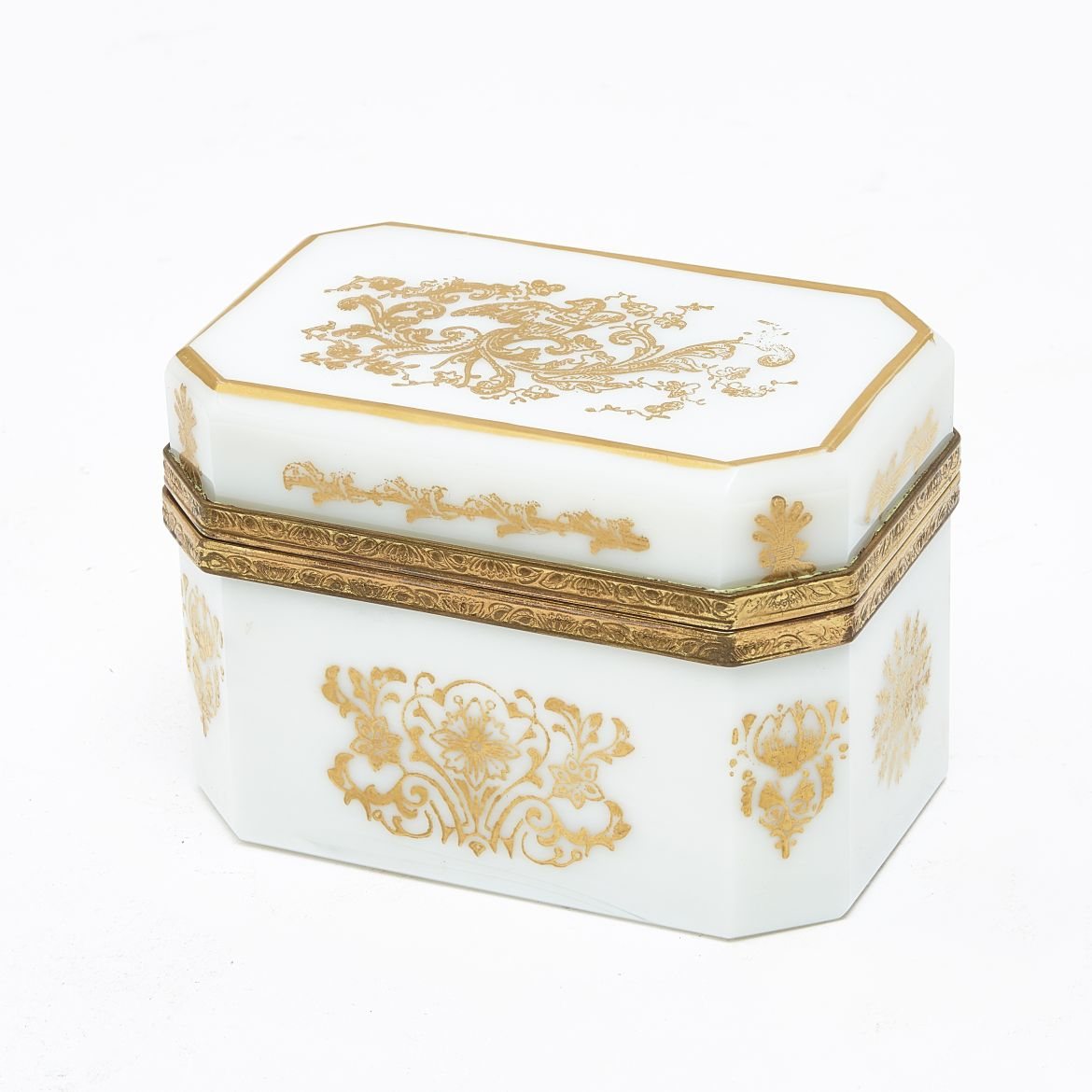 French White Glass and Gilt Box
