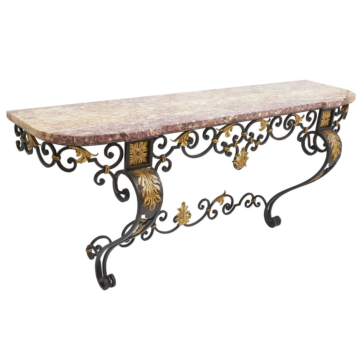 French Wrought Iron And Brocatelle Marble Console