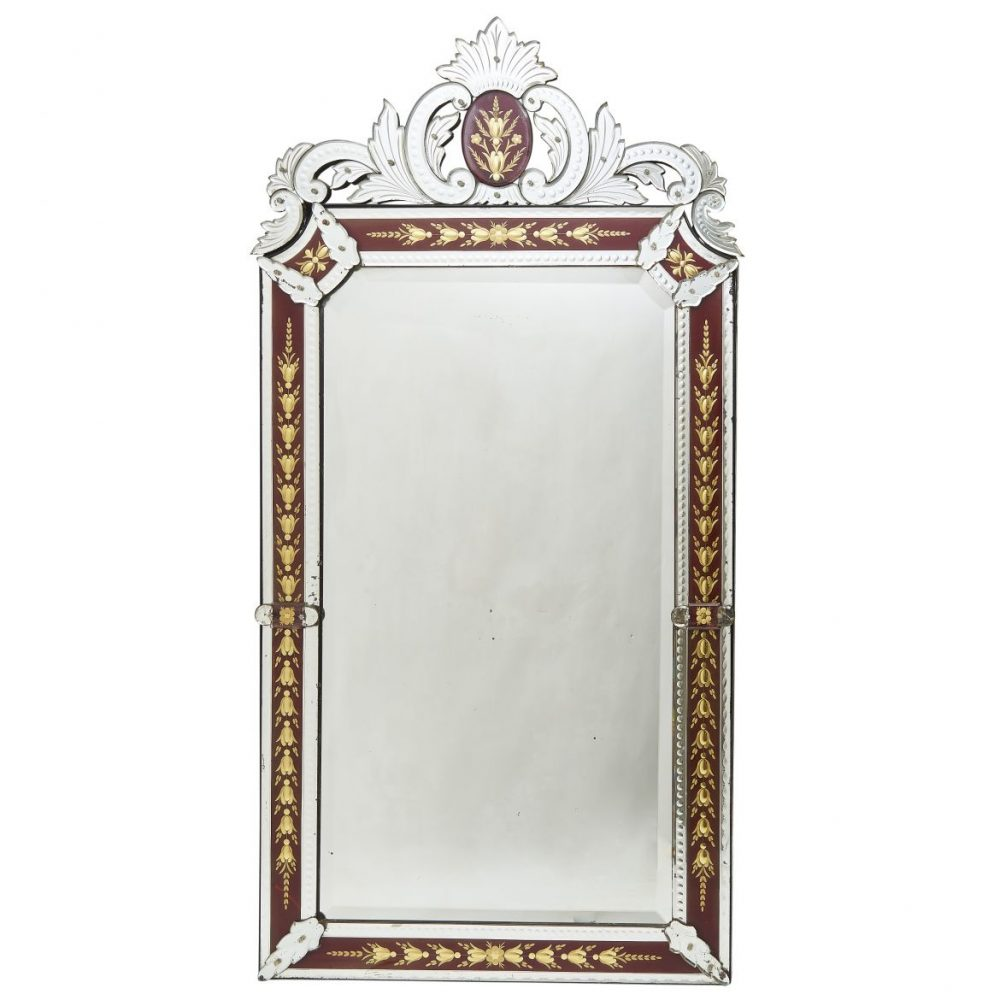 French Red Border Venetian Style Mirror