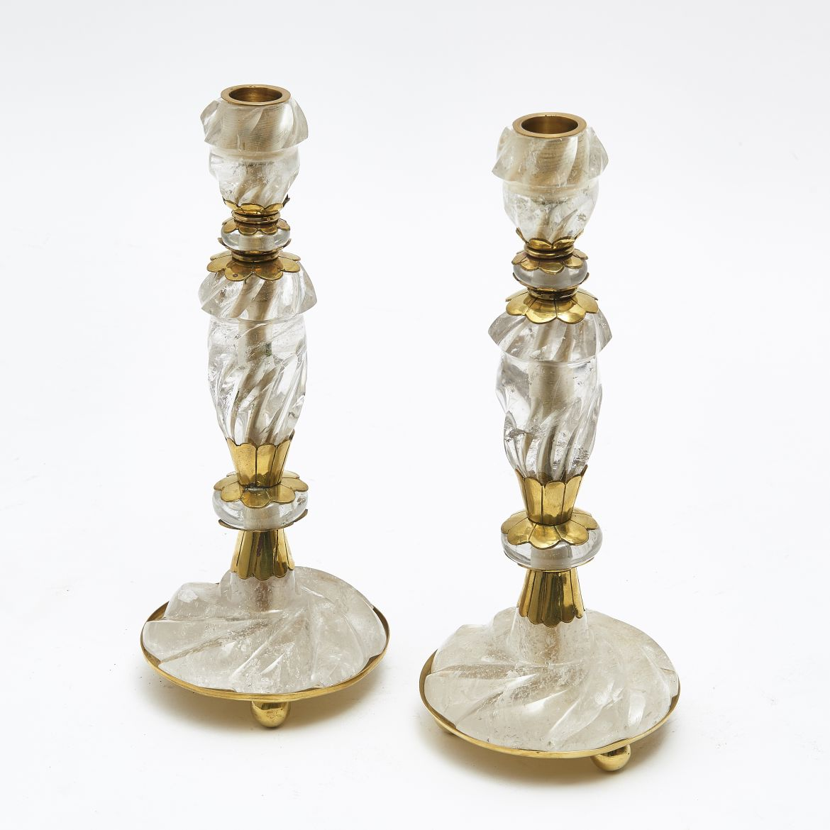French Rock Crystal Candlesticks