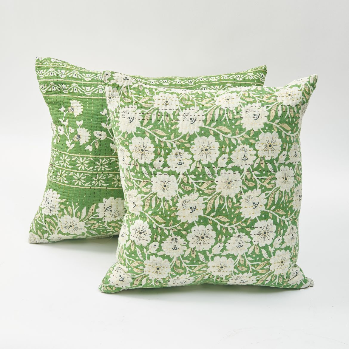 Green And White Sari Cushions