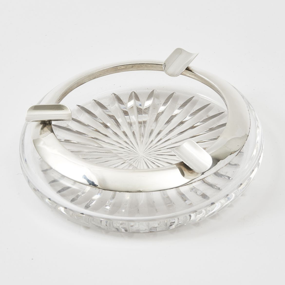 Silver Rim Mid 20th Century Crystal Ashtray