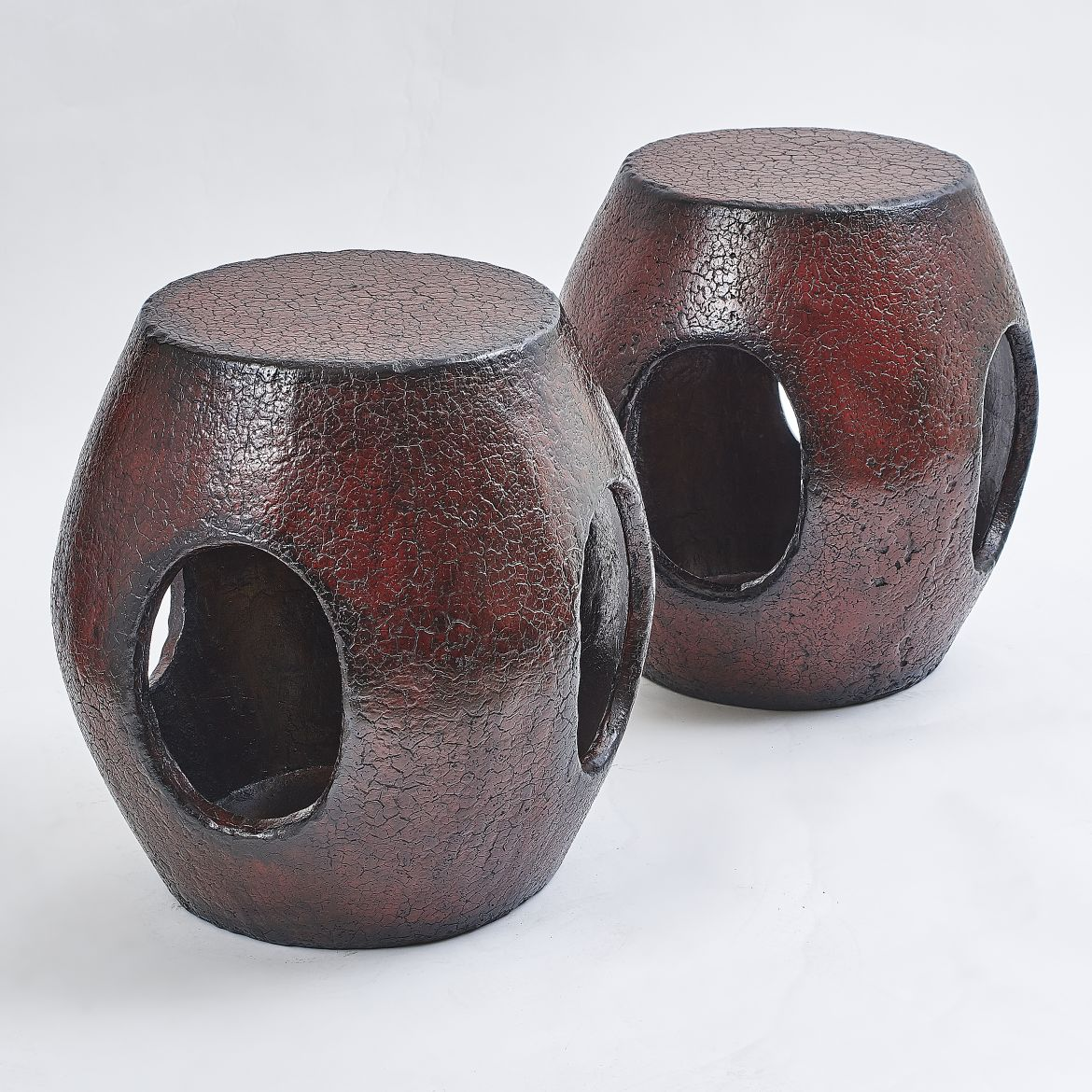 Chinese Red Lacquer Stools
