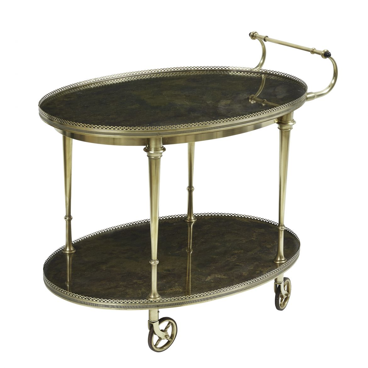 French Brass Mounted Bar Cart