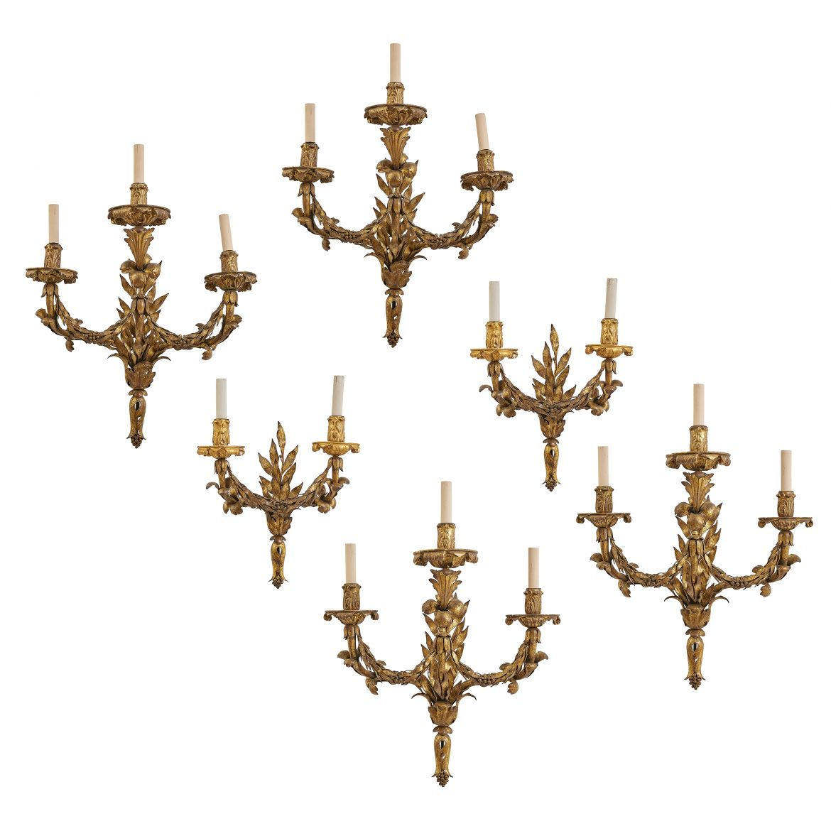 Set Gilt Metal And Giltwood Sconces