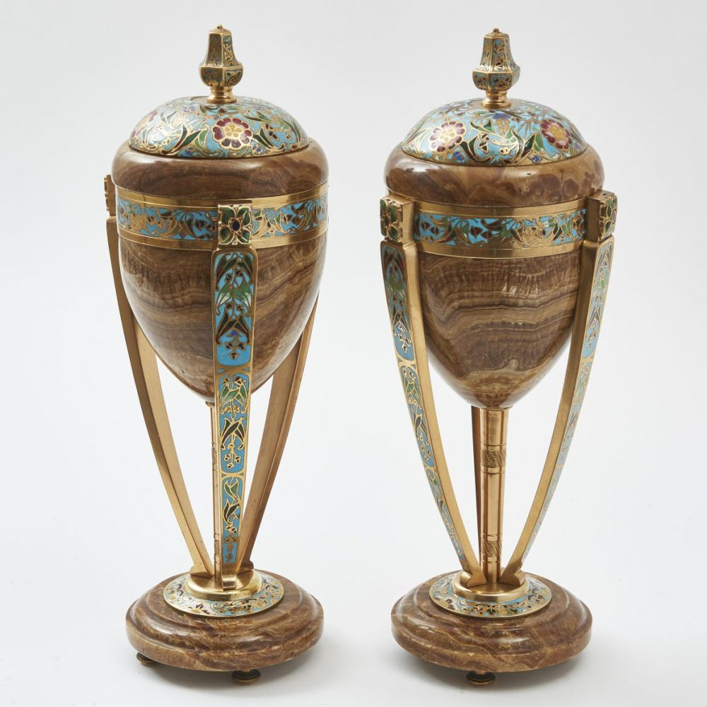 French Brown Onyx Art Nouveau Urns