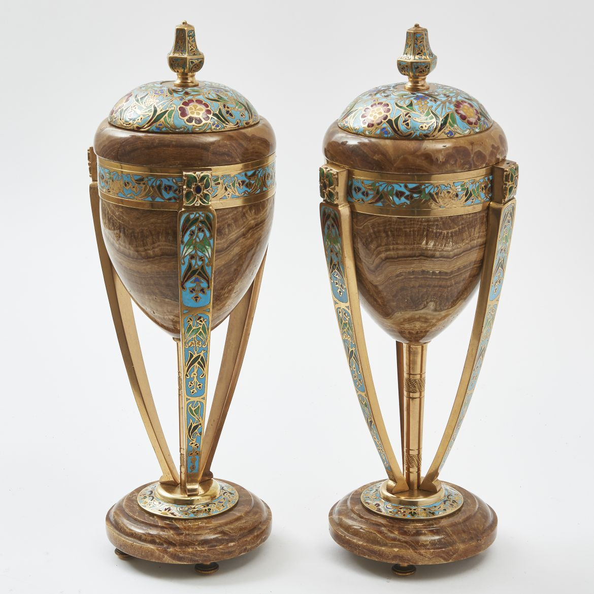 Brown Onyx Art Nouveau Urns