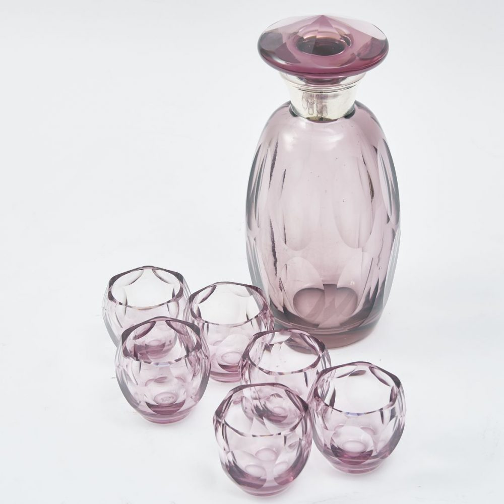 Amethyst Glass Decanter And Tumblers