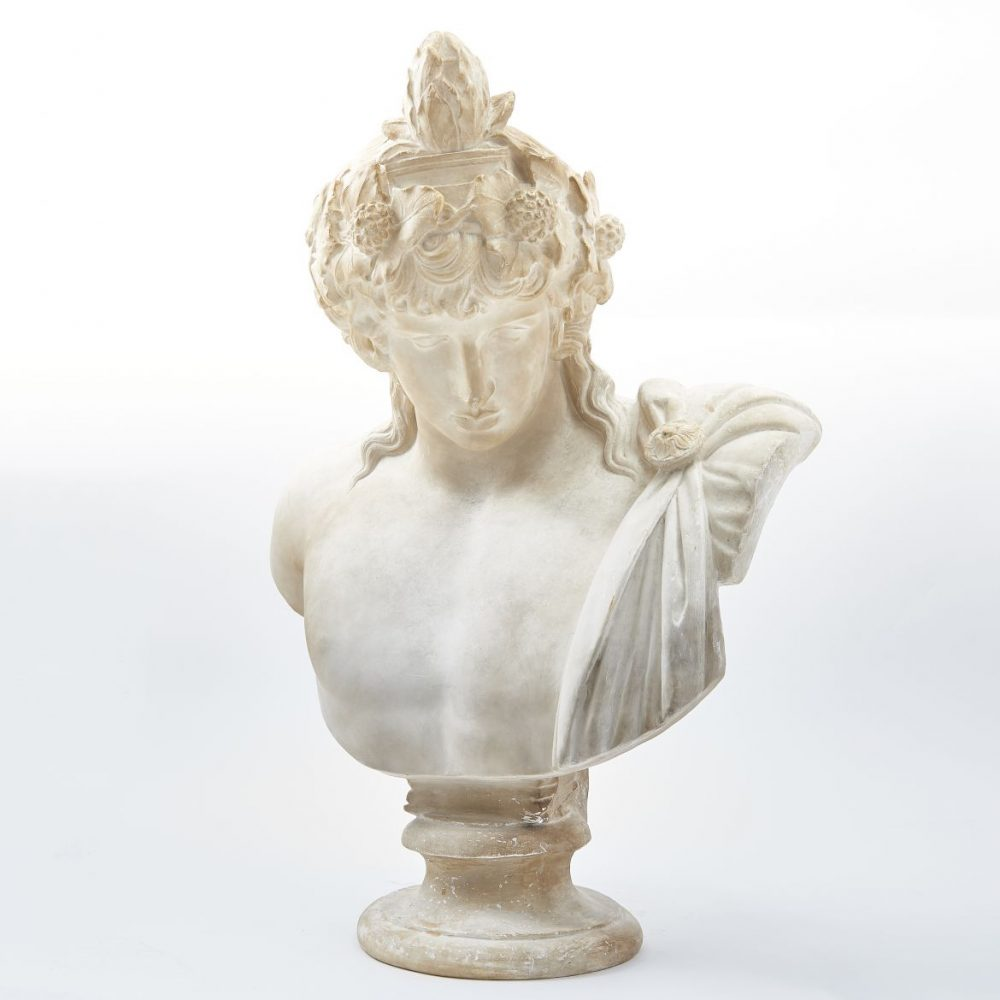 Plaster Bust Of Antinous As Dionysus