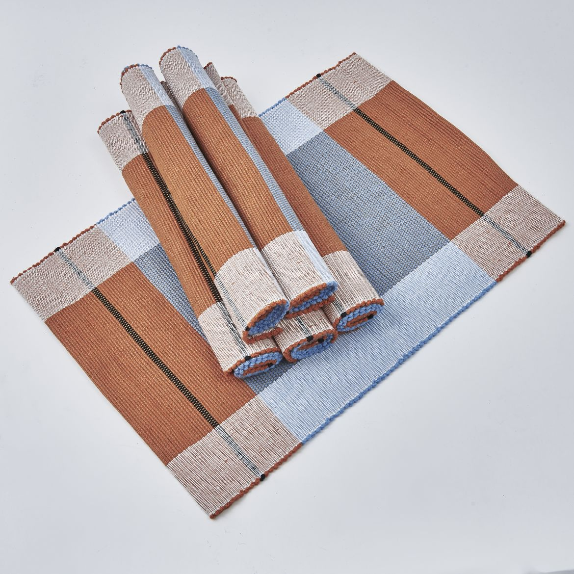 Pale Blue And Brown Placemats