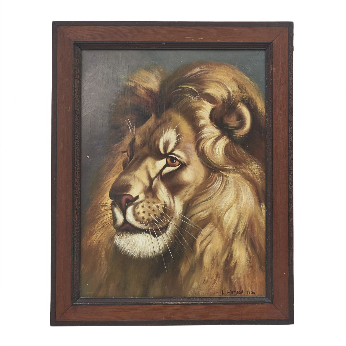 French Oil on Board of Lion
