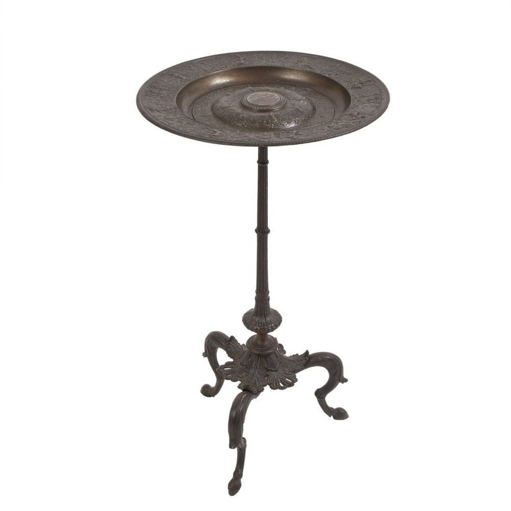 Cast Iron Side Table After Francois Briot's Mars Plate