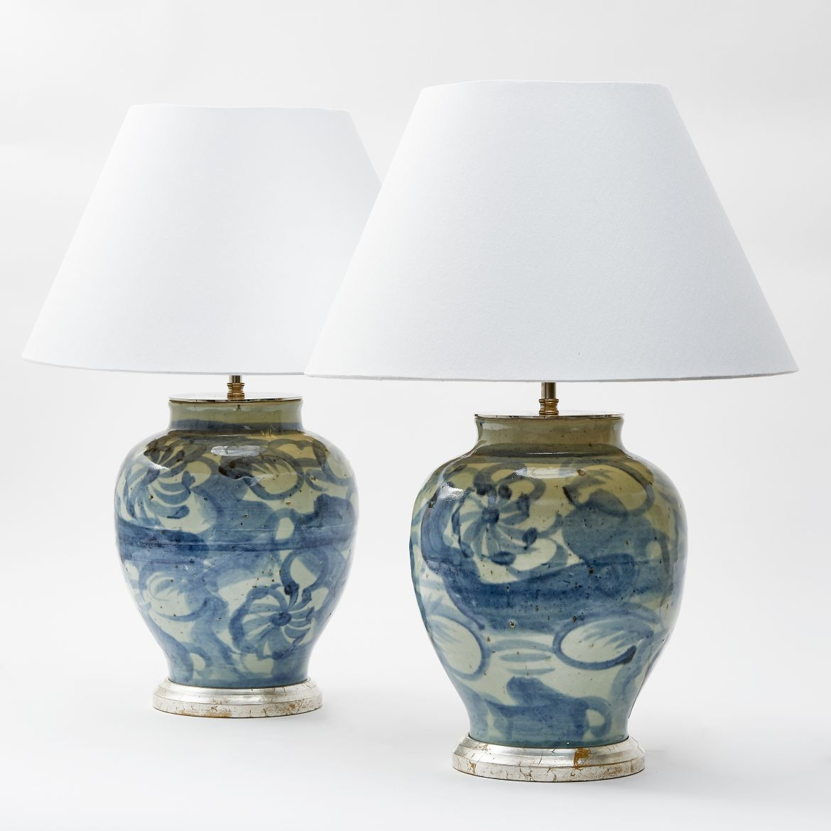 Chinese Ming Style Blue And White Lamps