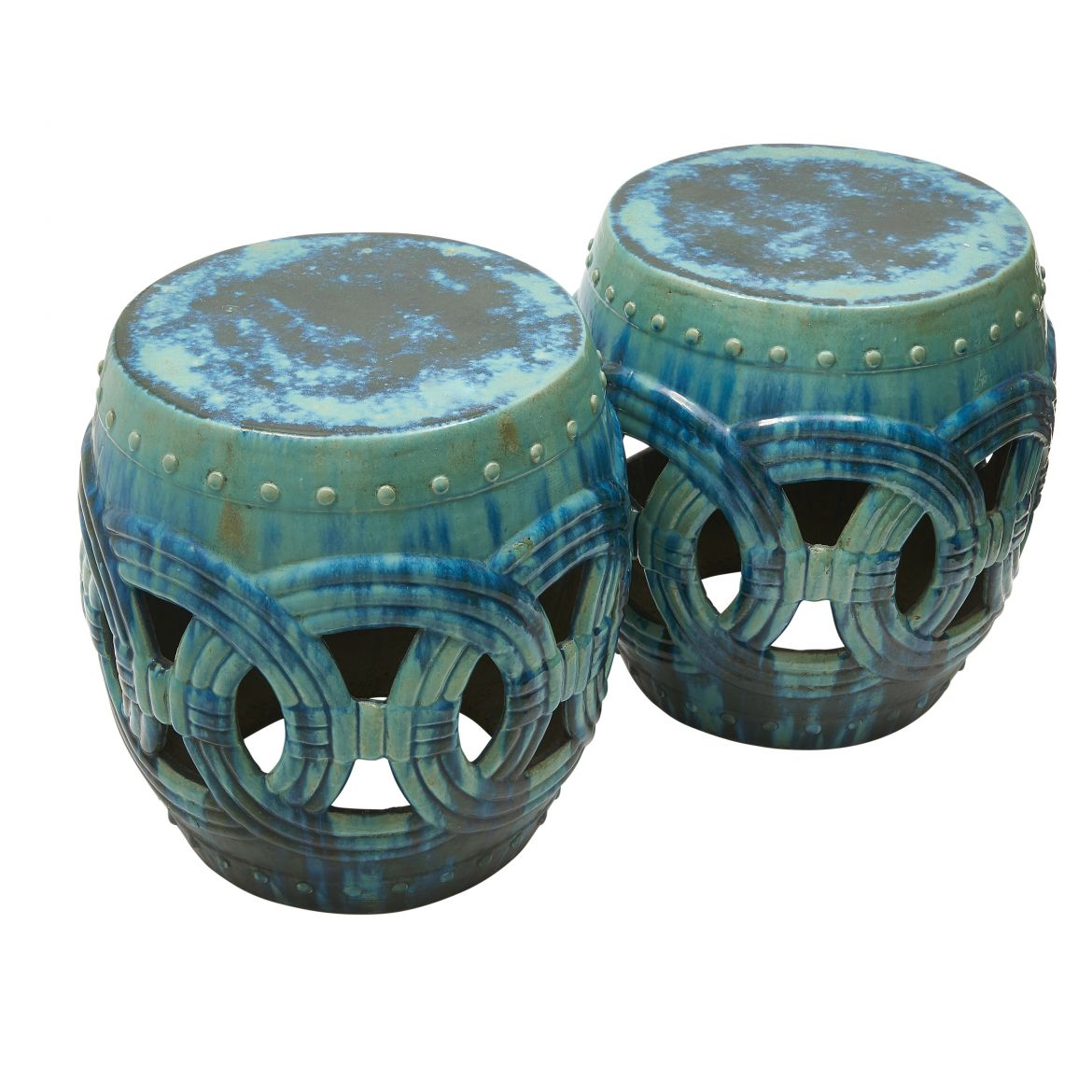 Pair Chinese Green Lattice Stools