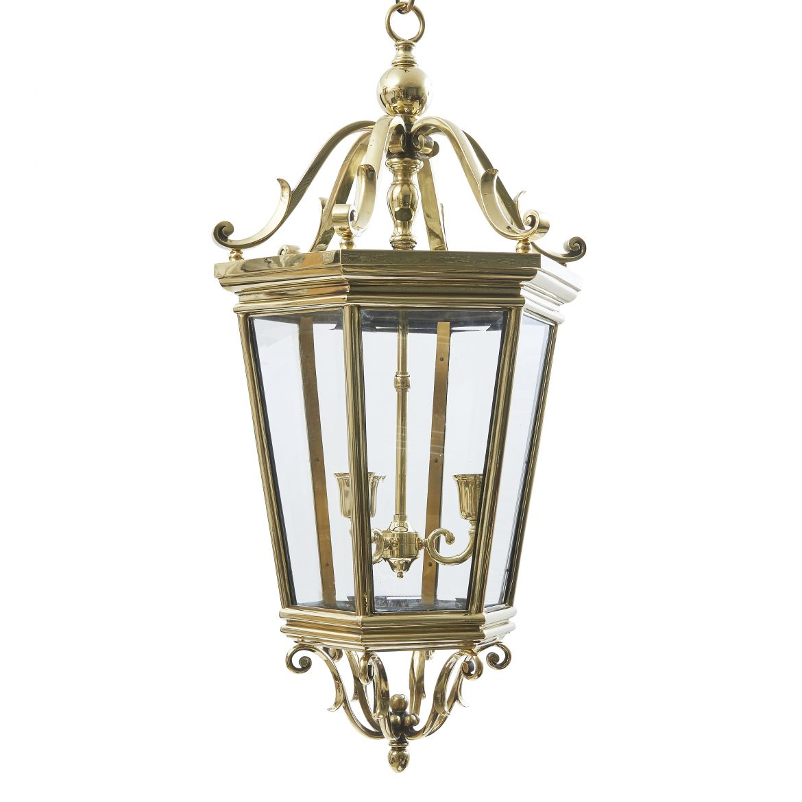Edwardian Bronze Hexagonal Lantern